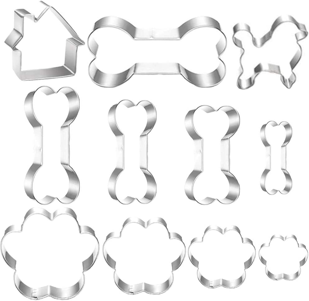 Ausplua Dog Cookie Cutter Set,Stainless Steel Dog Shape Cookie Cutters including Dog,Dog house,and Different Size Dog Bone and Paw Print Biscuit Cookies for Homemade Treats(11Pack)