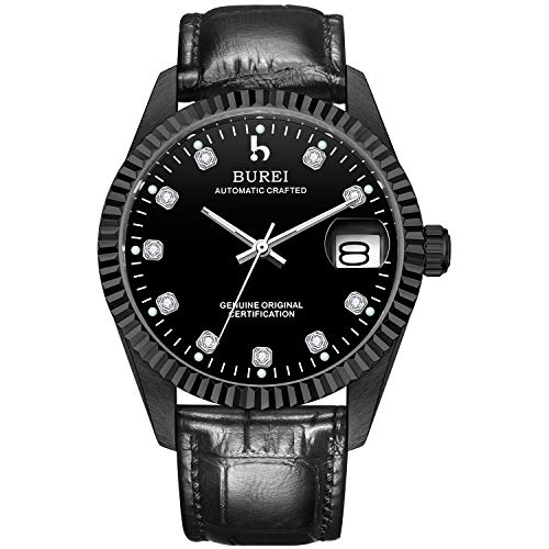 BUREI Men's Automatic Watch with Sapphire Crystal Rhinestone Marker Date Dial and Soft Leather Strap