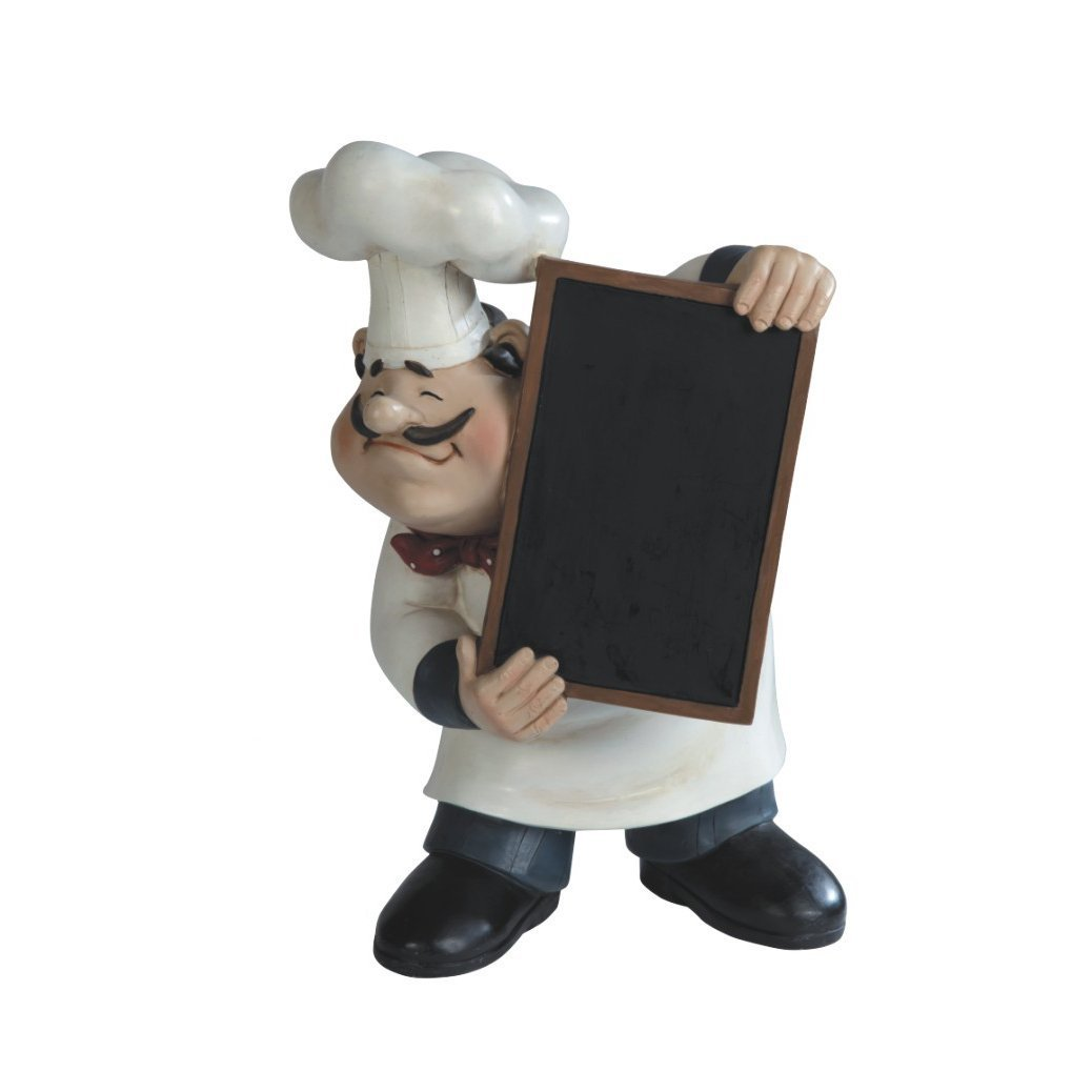 Large Fat Bistro Chef With Cooking Menu Chalkboard Poly Resin Figurine