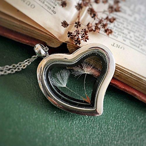 Floating Locket Charm Dandelion Necklace, Heart Glass Frame, Love, Mori Girl, Dried Flower, Woodland Garden, Terrarium, wish, luck, - Locket Frame Heart Necklace