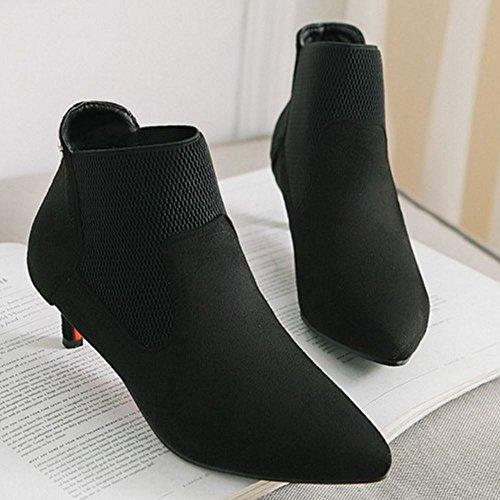 Pizzo 2 Su Moda Donna Stivali Caviglia Su nero Grande Formato Melady 8waXqIH
