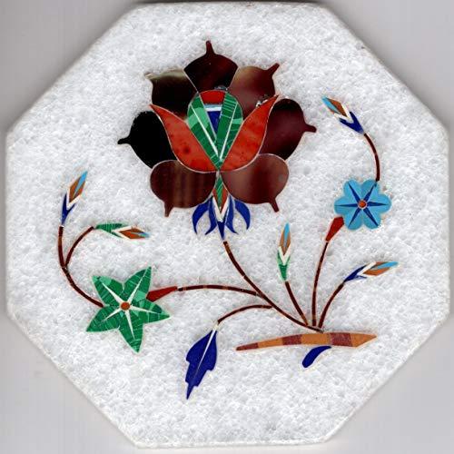 - Parchin Kari Marble Inlay Art Handmade 4″ Floral Mosaic Pietra Dura Decor Art