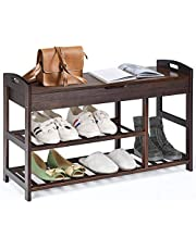 DORTALA Bamboo Shoe Bench, 3-Tier Shoe Rack for Boots, Storage Bench w/Storage Shelves, Multi-Function Shoe Rack for Entryway Storage Organizer, Shoe Shelf for Hallway Bathroom Living Room