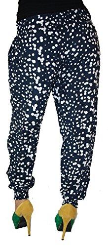 Damen Hose Haremshose Freizeithose Hose mit Muster Baumwolle Sommerhose (Marine-Weiß)