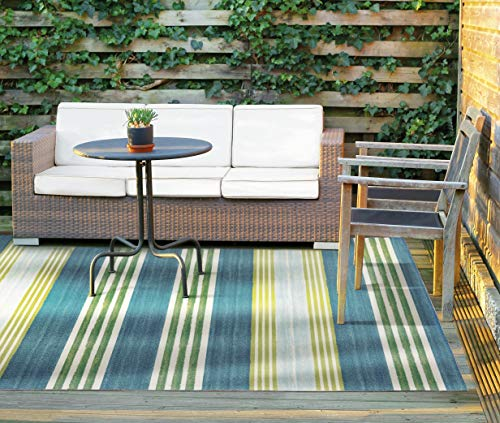 WAVERLY SND71 Sun N Shade Blue and Green Striped Indoor-Outdoor Rug 5'3