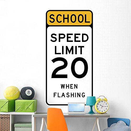 Wallmonkeys School Speed Limit 20 Wall Decal Peel and Stick Graphic (72 in H x 38 in W) ()