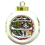 Please Come Home For Christmas Australian Cattle Dog Sitting In Window Round Ball Ornament D377