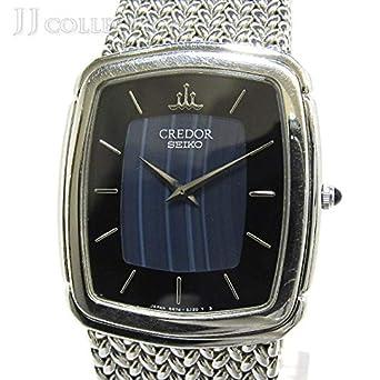 6617f12136 【中古】SEIKO セイコー クレドール メンズ腕時計 クオーツ 文字盤ブルー 縞メノウ SS GCJX033