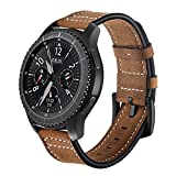 Kartice Compatible Samsung Gear S3 Classic/Frontier Smartwatch Band,22MM Genuine Leather Strap Replacement Buckle Strap Wrist Band for Samsung Gear S3 Frontier/Classic… (Crazy Horse-Brown)