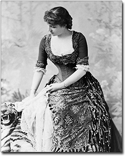 Lillie Langtry Tiger Rug Portrait 1882 8x10 Silver Halide Photo Print by The McMahan Photo Art Gallery & Archive