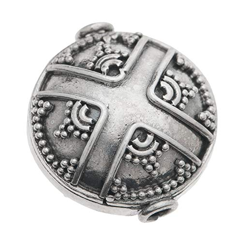 Dreambell 1 pc Bali .925 Sterling Silver Round Dots Cross Focal Bead Spacer 15mm / Findings/Antique