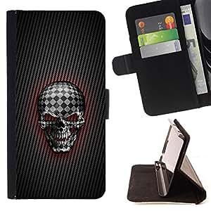 - Checkered Goth Skull/ Personalizada del estilo del dise???¡¯???¡Ào de la PU Caso de encargo del cuero del tir???¡¯????n del s - Cao - For Samsung Galaxy