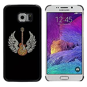 Be Good Phone Accessory // Dura Cáscara cubierta Protectora Caso Carcasa Funda de Protección para Samsung Galaxy S6 EDGE SM-G925 // Wings Guitar Music Rock Love Angel Art God Heaven