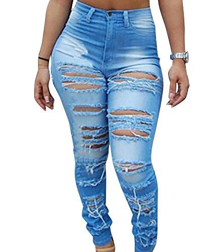 Femmes Est Dcontract Dchir Trous Taille Haute Long De Jeans Skinny Bleu Clair