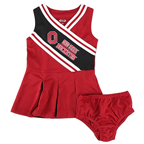 [Ohio State Buckeyes Infant Toddler Cheerleader Outfit - 2T - red black] (Cheerleader Outfit For Girls)