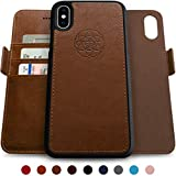 Dreem Fibonacci 2-in-1 Wallet-Case for iPhone X & Xs, Magnetic Detachable Shock-Proof TPU Slim-Case, Wireless Charge, RFID Protection, 2-Way Stand, Luxury Vegan Leather, Gift-Box – Chocolate