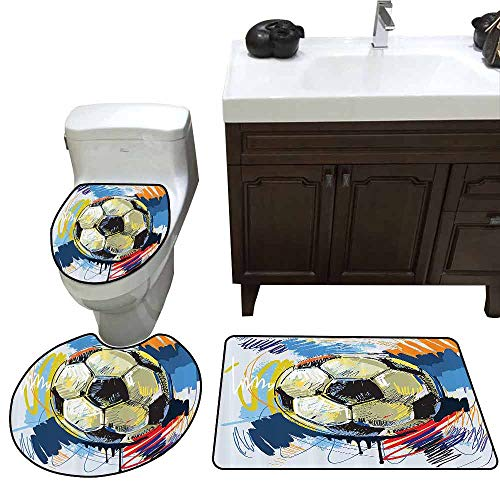 3 Piece Large Contour Mat Set Sports Decor Spherical Soccer Ball Illustration with Colorful Distressed Details Like in Motion Art Graphic Custom Made Rug Set Multi ()