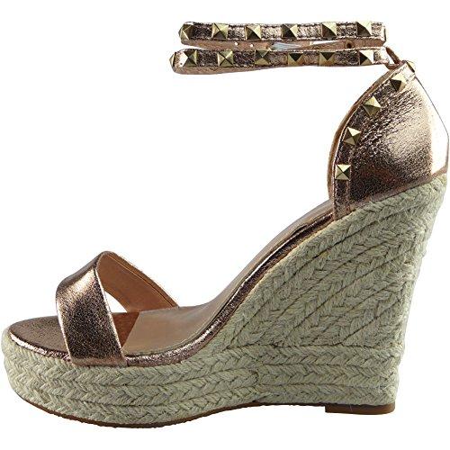 Womens Ankle Strap Espadrilles Platform Wedge Sandals Flats Size 3-8 Champagne 7OFNUfuhCU
