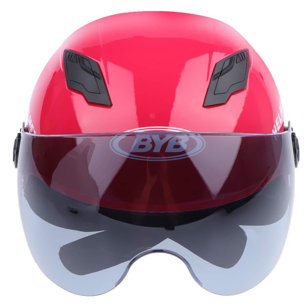 Casco Medio Casco De Motocicleta Con Cruceta Abierta Chopper Biker Skull Cap Casco Camiseta roja 1