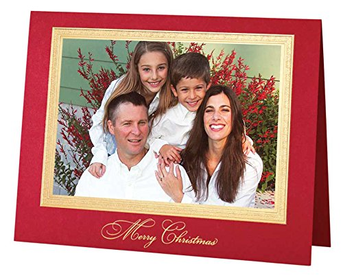Exposures Traditional Merry Christmas Photo Christmas Card - Exclusive Gold Foil Card
