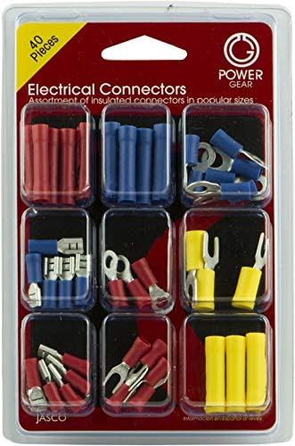 PowerGear Electrical Connectors Assorted 40 Pack Terminals Splices Lugs Multipack 50956 1 Pack Multicolor