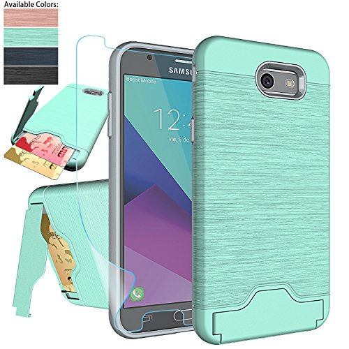Galaxy J7 V / J7 Perx/J7 Prime/J7 Sky Pro/Halo Case with Screen Protector,NiuBox [Card Slot Wallet Fit Card][Kickstand] Full Body Shock Absorption Protective Phone Case for Samsung J7V 2017-Turquoise