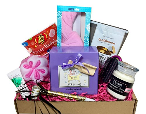 Spa Birthday Theme Gift Basket Box with Lavender Bath Salt for Her-Women, Mom, Aunt, Sister or Friend