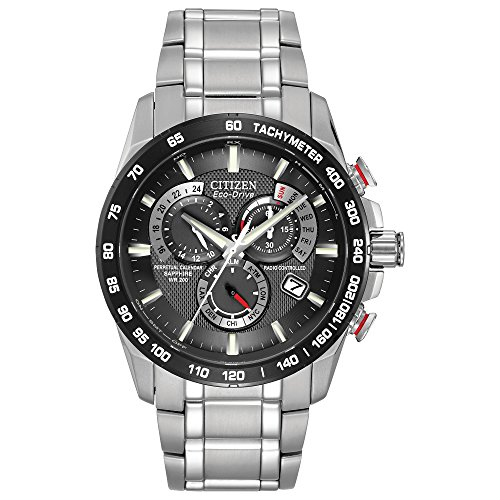 (Citizen Men's Eco-Drive Perpetual Chrono Atomic Timekeeping Watch with Day/Date, )