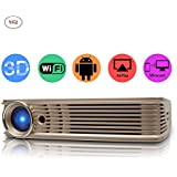 CPX-I5 DLP Home Theater Projector, Mini Video Projector 1080P Portable Wi-Fi Bluetooth Smart Pico Projector,built-in battery, Max 200 Screen Ideal for IOS/ Android/ Laptop/ iPad/ USB flash driver/PC