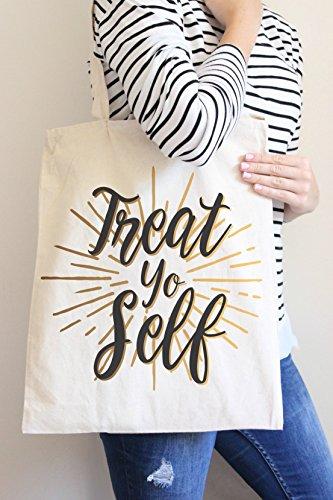 Treat Yo Self Tote Bag in Natural Color (Tote Treat Yo Self)