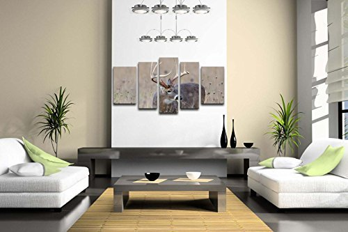 5 Panel Wall Art Whitetail Deer Buck In A Foggy Field Painting The Picture Print On Canvas Animal Pictures For Home Decor Decoration Gift piece 8104214