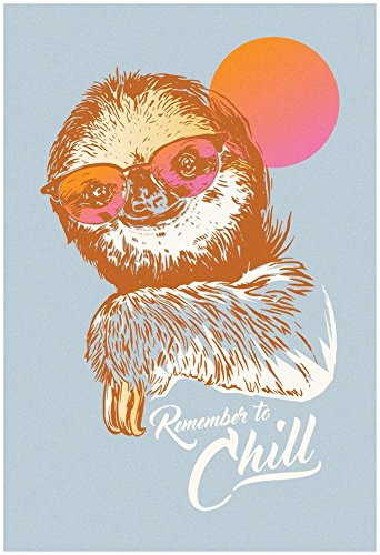 Artedge Remember To Chill Sunset Sloth Unframed Poster Print -