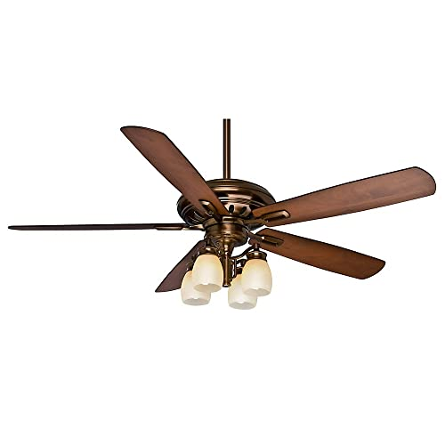 Casablanca 59536 Holliston Gallery 60-Inch Bronze Petina Ceiling Fan with Five Walnut Burnt Walnut Blades with a Light Kit