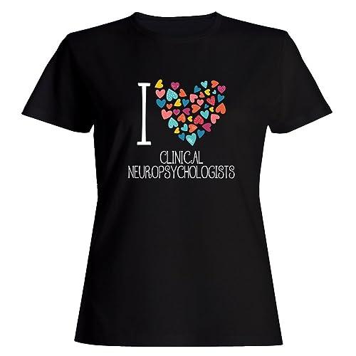 Idakoos I love Clinical Neuropsychologists colorful hearts Maglietta donna