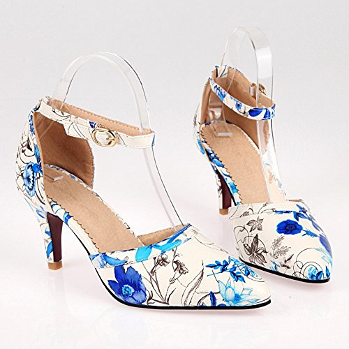 Blue Womens Comfort Floral Foot Pump Charm Heel Ankle High Strap Shoes vZqFxwcg