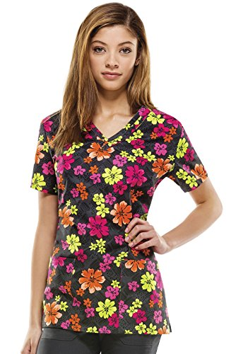 Everyday Scrubs Signature By Dickies Women's V-Neck Floral Print Scrub Top Small Print