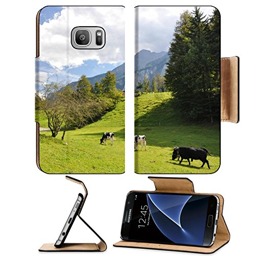 MSD Premium Samsung Galaxy S7 Flip Pu Leather Wallet Case IMAGE ID: 12248875 Swiss scenery (Chalet Roof)