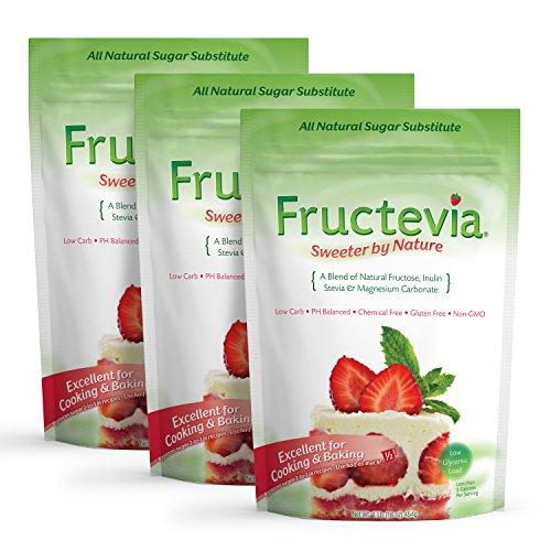 Fructevia - 1 lb bag/3 pack - Fructose, Inulin & Stevia B...