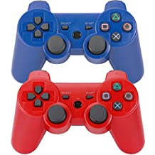 2Pcs Wireless Bluetooth Controllers for Sony Playstation3 PS3 Blue & Red