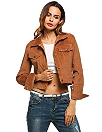 Zeagoo Women`s Long Sleeve Corduroy Jacket with Chest Pockets Single-breasted