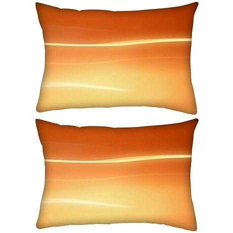 Pack de 2 abstracto naranja diseño rectangular Toss Throw ...