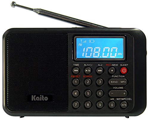 Kaito KA108 Super Sound quality AM FM Shortwave Radio with MP3 Player and Radio Recorder, Radio Time Schedule Recorder,Alarm Clock+ More (Black) (Recorder Quality)