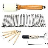 Yaetek 20pcs Leather Carving Working Saddle Making Tools Set DIY Hammer Swivel Knife Leather Craft Modelling