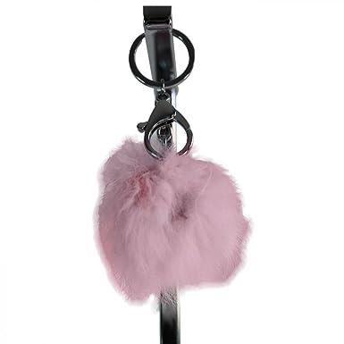 10f5ae202f68 Shopping-et-Mode Grand porte-clés bijou de sac pompon rose pâle en ...