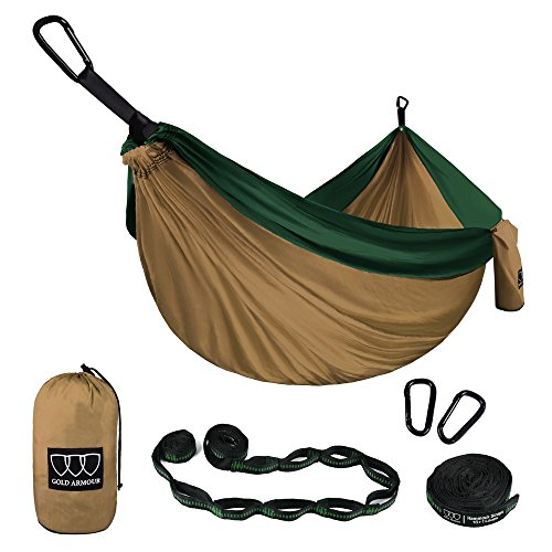Gold Armour Camping Hammock - Single Parachute Camping Hammock (2 Tree Straps 16 LOOPS/10 FT Included) Lightweight Nylon Portable Hammock, Best Parachute Single Hammock (Khaki/Dark Green)