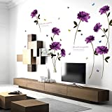 Jeash Purple Rose Removable Wall Sticker Mural Decal Home Room Decor Art Decal Wall Sticker Kid's Bedroom Living Room Persona