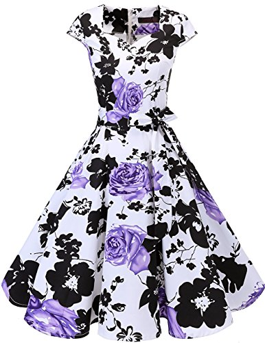 DRESSTELLS Retro 1950s Vintage Dresses Cocktail Swing Dress with Cap-Sleeves White Purple Flower 2XL