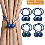 Nature Crafted Magnetic Curtain Rope Tiebacks, Classic European Window Curtain Holders with Magnets for Blackout Curtain, Sheer Panels Draperies (Navy Blue, 4 Pack)