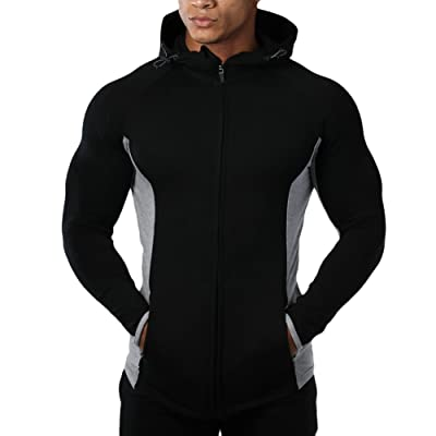 Mechaneer Men's Fitness Gym Workout Hoodie Active Bodybuilding Zip Jackets