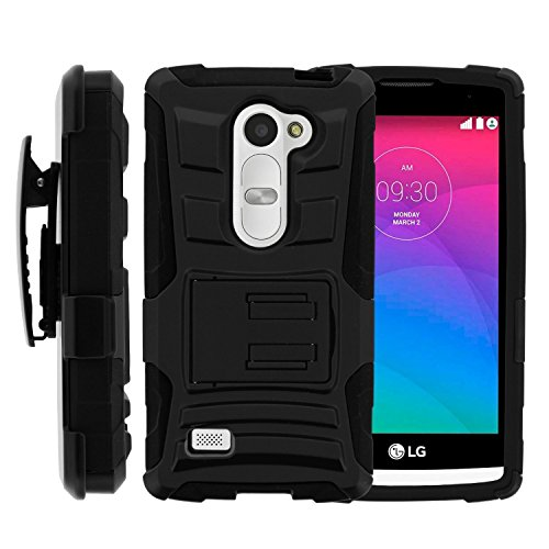 Phone Case for Lg Sunset LTE / Power L22c / Destiny L21g (Straight Talk) / Lg Leon LTE (T-mobile) Black Edge Cover Kickstand Combo Holster Belt Clip for Lg Tribute-2 (Boost Mobile) / Lg Risio (Cricket Wireless) (Clip T-mobile)